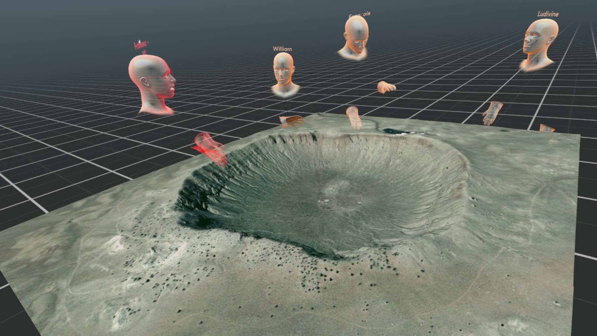 """Geology course in virtual reality: the teacher and the students communicate and interact around the 3D model of Meteor Crater (Arizona) to discuss geological processes (software developed by VR2Planets) """"- Image credit: VR2Planets"""